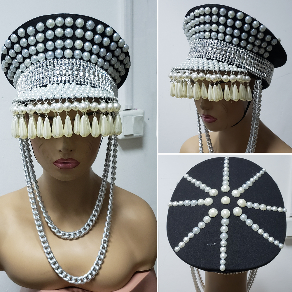 e9fe629b302d0 US  165 - Burning Man Festival Bling Drop Pearl Fringe Hat officer Hat  Military Captains Rave Bespoke Hat Costumes Gypsy Headpiece Headwear -  www.pindarave. ...