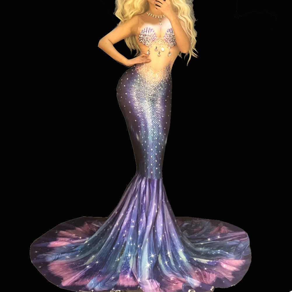 US$ 120 - Sexy Drag Queen Mermaid Costumes Long Gown Evening Dress Cosplay Runway Show - www.pindarave.com