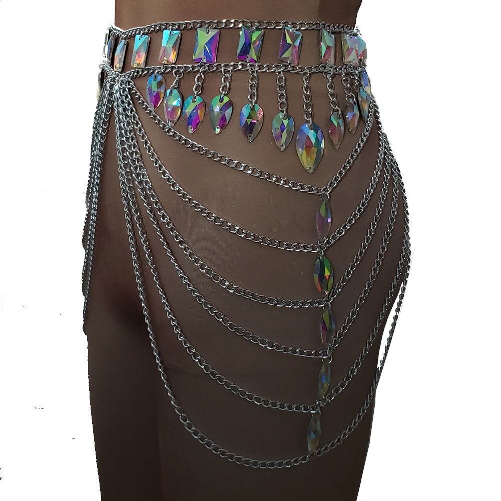 US  85 - Burning Man Festival Rave EDC Holographic GLass Stone Crystal  Chain Skirt Bottoms - www.pindarave.com 6d3df5a93a75