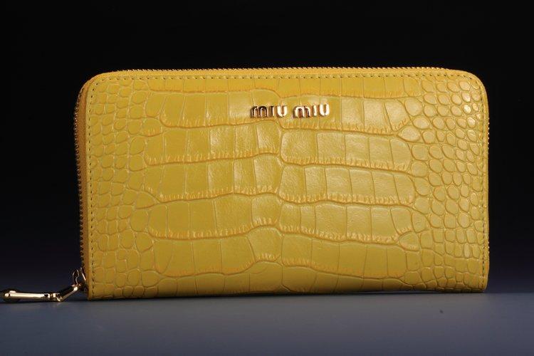 brand new ffd67 a9496 ミュウミュウコピー財布 MIUMIU 長財布 クロコ調 イエロー miu005-4
