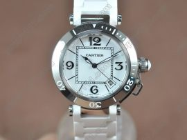 カルティエCartier Pasha 37mm Swiss Quartz SS/RU White Dialクォーツ