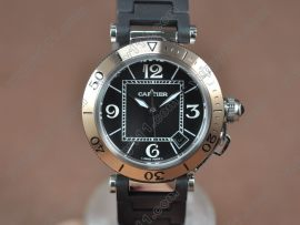 カルティエCartier Pasha 37mm Swiss Quartz TT/RU Black Dialクォーツ