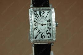 フランクミュラー > Franck Muller Watches Long Island SS Case Diamond White Dial Black Strap