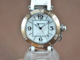 カルティエCartier Pasha 37mm Swiss Quartz TT/RU White Dialクォーツ