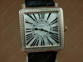 フランクミュラー Franck Muller Watches Conquistador Bezel Diamond RG Case Black Dial with Black Strap Swiss ETA Movement