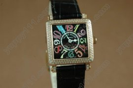 フランクミュラー Franck Muller Watches Conquistador Crazy Hours Color Dreams Automatic Diamond Bezel RG Case Black Dial