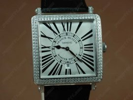 フランクミュラー Franck Muller Watches Conquistador Bezel Diamond SS Case Black Dial with Black Strap Swiss ETA Movement