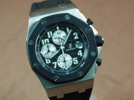 オーデマ・ピゲAudemars Piguet Royal Oak Chronograph SS/RU Black A-7750 Sec@12自動巻き