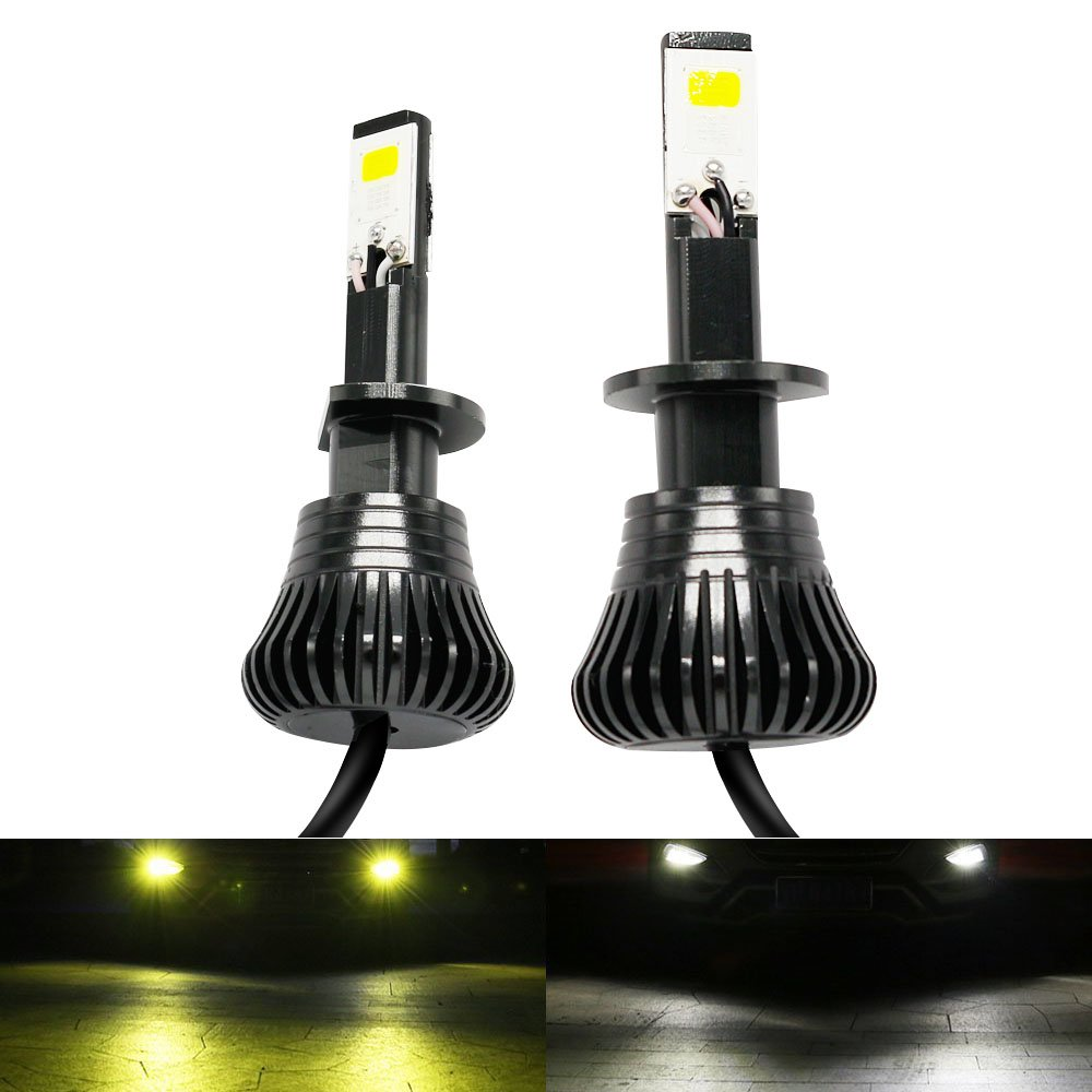 H1 Led Fog Light Yellow Amber 3000K White 6000K Dual Color Conversion Kit  12V 20W 2400LM COB Chips for Diesel Auto Led Bulbs Trucks Cars Driving