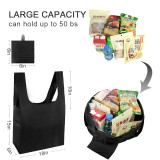 Free shipping Grocery Bags Reusable Foldable 5 Pack Shopping Bags Ripstop Polyester Reusable Shopping Bags,Washable, Durable and Lightweight - black