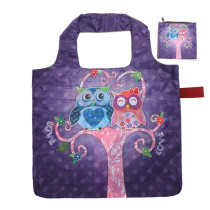 Free shipping Reusable Foldable Shopping Grocery tote Bag Owl with Rubber band Closure, Lightweight Polyester Foldable Travel Tote with Individual Zippered Storage Pouch