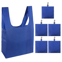 Free shipping Grocery Bags Reusable Foldable 5 Pack Shopping Bags Ripstop Polyester Reusable Shopping Bags,Washable, Durable and Lightweight - blue