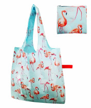 Free shipping Flamingo pattern Reusable Foldable Shopping Grocery tote Bag with Rubber band Closure, Lightweight Polyester Foldable Travel Tote- Large Capacity,Individual Zippered Storage Pouch (Blue)