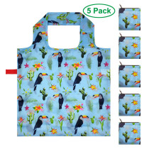 Free shipping Grocery Bags Reusable Foldable Shopping Bags 5 Pack Large Cute Groceries Totes with zip pouch Waterproof Machine Wash Ripstop Eco-Friendly