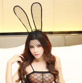 Sexy lingerie accessories small dot veil rabbit ears princess headdress hair accessories