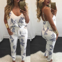 Summer explosion sexy sling V - neck print pants two - piece