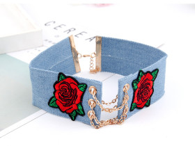 Cowboy Rose Flower Embroidery Chain Necklace