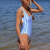 Blue and white vertical stripes dew back straps piece swimsuit