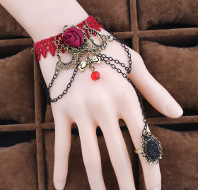 Retro red lace bracelet Women with ring
