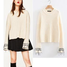 Solid edge stitching sweater shirt cuffs