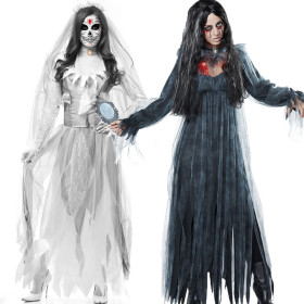 Halloween horror, ghost bride, vampire demon Costume