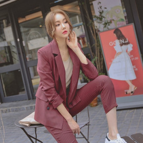 Self cultivation professional stripe two suit