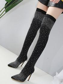 Rhinestone sexy thigh boots