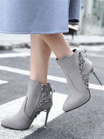 High heel short boots pointy head bandage suede
