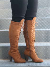 Round head front tie with thick side zipper boots
