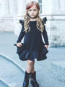 Flying sleeve dress baby pleated skirt