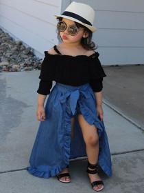 Sling coat + Lace denim skirt + shorts three piece set