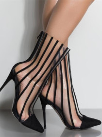 Pointed transparent boots with stripes