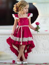 Lace-backed irregular skirt