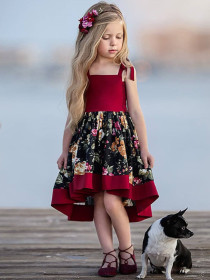Printed dress irregular sling skirt