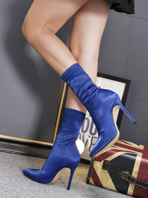 Elastic high-heeled silk satin pointed sock boots