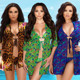 Three-piece Set of Printed Leopard-print Peacock Split Swimming Suit