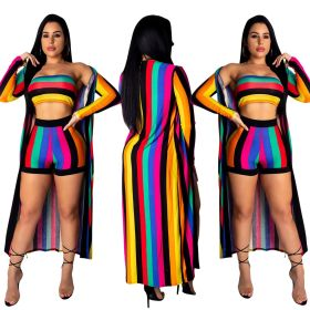 2019 women new colorful stripes strapless + shorts + X-long cloak 2pcs set beach sexy swimsuit sporty outfit tracksuit