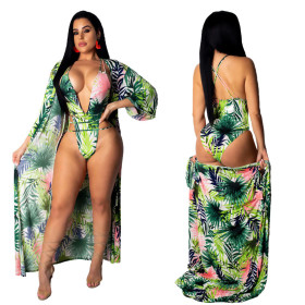 Printed long sleeve sunscreen blouse + deep V swimsuit two sets