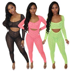 Fashion screen printing perspective pants suit