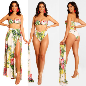 Printed beach swimsuit three-piece suit