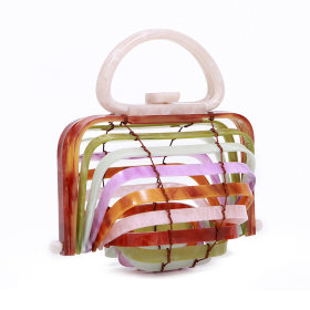 Acrylic Bamboo Basket Handbag Curved Hollow Handbag Folding Bag