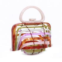 Acrylic Bamboo Basket Handbag Curved Hollow Handbag Folding Bag