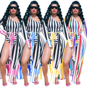 2019 New women stripes patchwork X-long cloak one shoulder bodysuit two piece swimsuit beach holiday outfit tracksuit