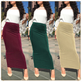 Fashion Muslim Stripe Elastic Knitted Hip-and-ankle Women's Summer Half-length Skirt