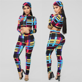 Fashion Colour and Body-building Printing Three-piece Set