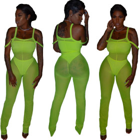 Fashion Women's Garment Mesh Sexy Three-piece Set