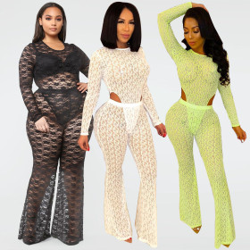 Coloured hollow mesh triangular Jumpsuit + hip-wrapped bell trousers two sets