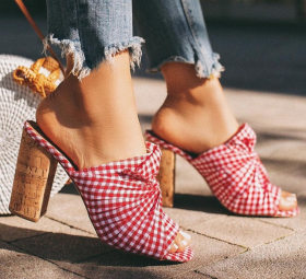 Red checked high-heeled sandals thick-heeled women's slippers