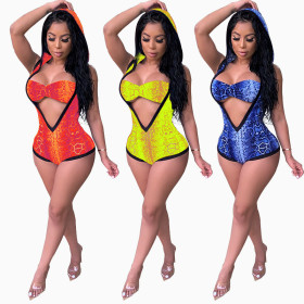 Sexy V-neck swimwear hooded one-piece two-piece pants