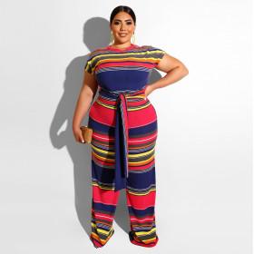 Colour striped waist tie large size two sets
